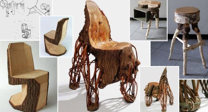leseni stoli, lesena hiša, naravni interierij, naravna oprema, leseno pohištvo, naravna gradnja, gradnja z naravnimi materiali