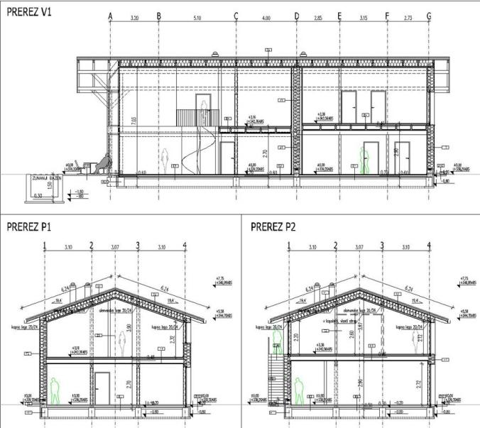 prerez, načrt, hiša, tloris, hiša naravna gradnja, pgd, projekt, naravna gradnja, gradnja z naravnimi materiali, hiša iz slame