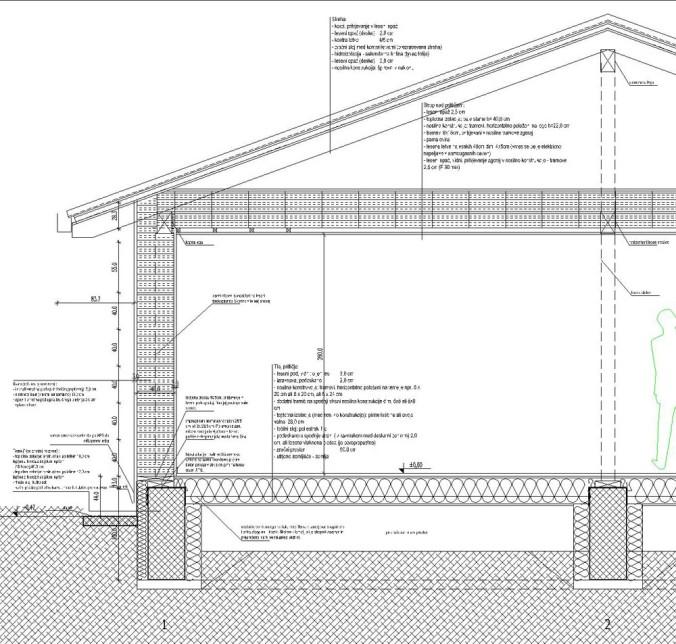 hiša iz slame, prerez, hiša iz slamnatih bal, slamnate bale, detajli, naravna gradnja, gradnja z naravnimi materiali