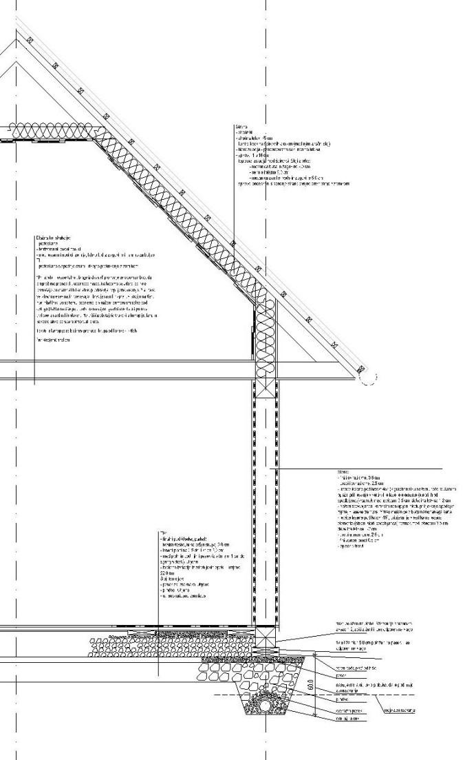 lesena hiša, spodbijanca, prerez, hiša iz naravnih materialov, arhitekt, načrt, naravna gradnja, gradnja z naravnimi materiali