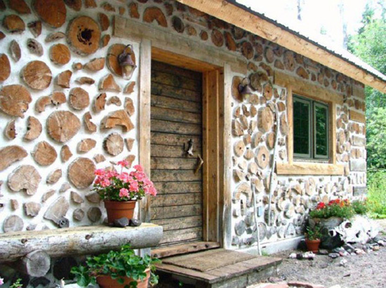 cordwood, lesena hiša, naravna gradnja